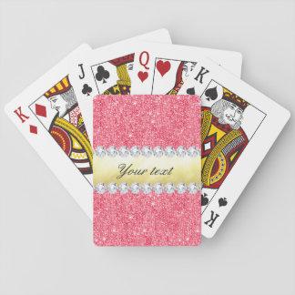 Jogo De Carta Folha e diamantes cor-de-rosa de ouro dos Sequins
