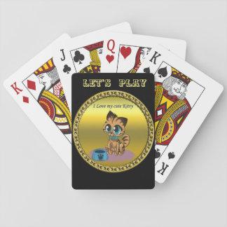 Jogo De Carta Gatinho bonito macio brincalhão do ouro com olhos
