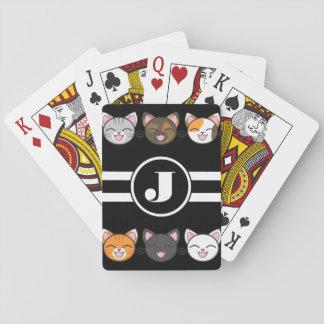 Jogo De Carta Gatos felizes w/Monogram
