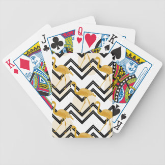 Jogo De Carta Hand drawn gold flamingo with chevron background