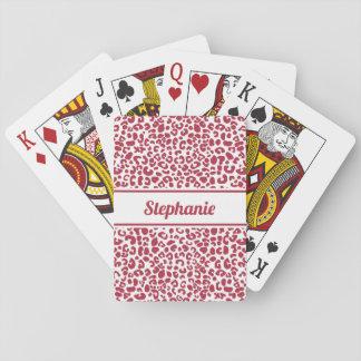 Jogo De Carta Impressão vermelho e branco na moda do leopardo