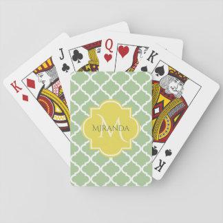 Jogo De Carta Monograma conhecido amarelo verde Pastel chique de