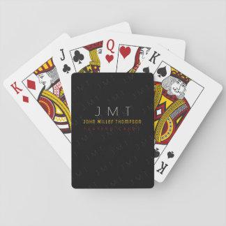 Jogo De Carta monograma elegante no preto