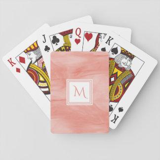 Jogo De Carta Monograma moderno de mármore subtil cor-de-rosa