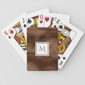 Jogo De Carta Monograma moderno de mármore subtil escuro simples