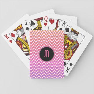 Jogo De Carta Monograma roxo cor-de-rosa de Chevron