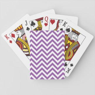 Jogo De Carta O ziguezague roxo e branco listra o teste padrão