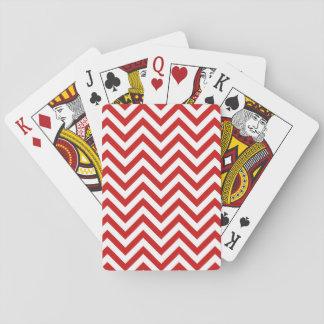 Jogo De Carta O ziguezague vermelho e branco listra o teste