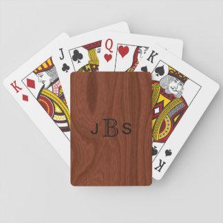 Jogo De Carta Olhar de madeira de mogno Monogrammed feito sob