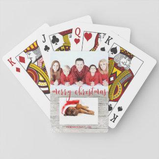 Jogo De Carta Plataforma de cartão com fotos de madeira rústica