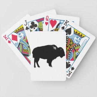Jogo De Carta Pop art preto & branco da silhueta do búfalo do