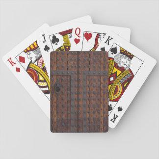 Jogo De Carta Porta de madeira velha com reforços pretos do