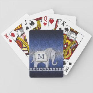 Jogo De Carta Prata do monograma da caminhada do elefante/ID390