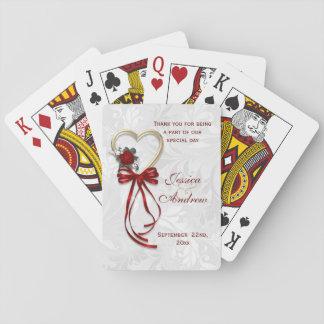 Jogo De Carta Romântico aumentaram, o coração do ouro & a fita