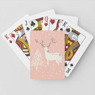 Jogo De Carta Rosa bonito da rena e dos flocos de neve