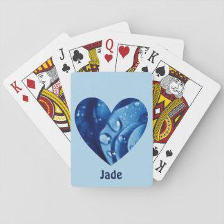 Jogo De Carta Teste padrão azul JADE~ personalizado ~ do coração