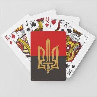 Jogo De Carta Tryzub estilizado e bandeira Vermelho-Preta