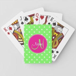 Jogo De Carta Verde do na moda do nome da inicial do monograma