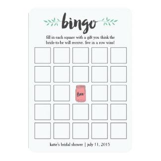 Jogo de cartas do Bingo do chá de panela, frasco Convite 12.7 X 17.78cm