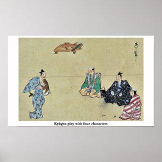 Jogo de Kyōgen com quatro caráteres Impressão