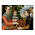 Jogo de xadrez por Sofonisba Anguissola - cerca de Posteres