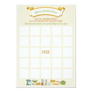 Jogo do Bingo do chá de panela Convite 12.7 X 17.78cm