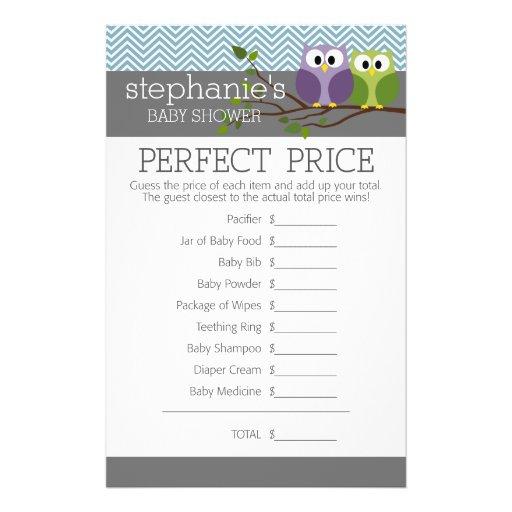 Jogo do chá de fraldas - preço direito perfeito panfleto personalizados