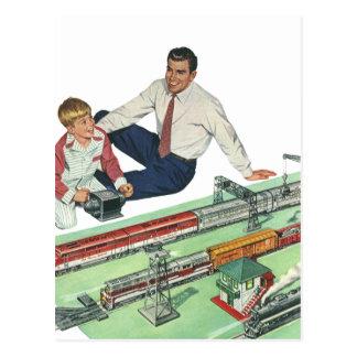 Jogo do dia dos pais, do pai e do filho do vintage cartão postal