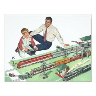 Jogo do dia dos pais, do pai e do filho do vintage convite 10.79 x 13.97cm