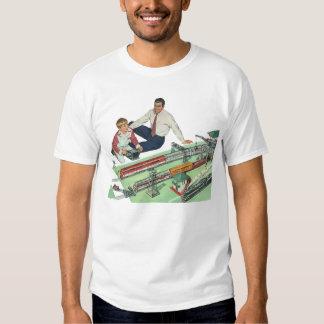 Jogo do dia dos pais, do pai e do filho do vintage t-shirts