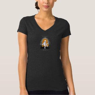 Jogo do t-shirt do V-pescoço das mulheres dos Camiseta