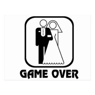 Jogo engraçado do casamento sobre cartão postal