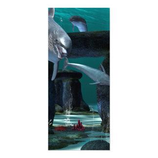 Jogo engraçado dos golfinhos convite 10.16 x 23.49cm