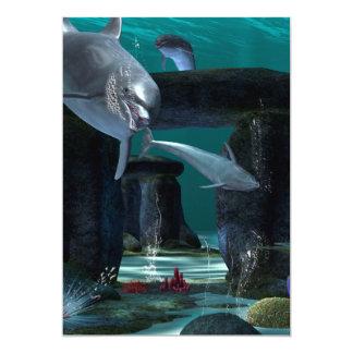 Jogo engraçado dos golfinhos convite 12.7 x 17.78cm
