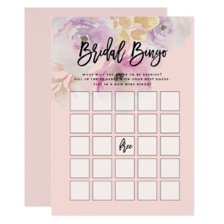 Jogo floral do Bingo do chá de panela da aguarela Convite 12.7 X 17.78cm