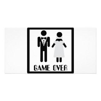 jogo sobre o ícone nupcial do casal cartão com foto