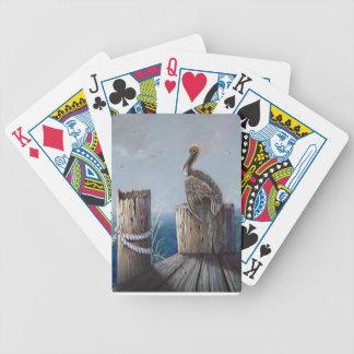 Jogos De Baralho Arte acrílica do oceano do pelicano de Brown da