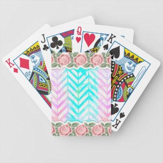 Jogos De Baralho Cor-de-rosa floral e azul do monograma elegante