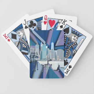 Jogos De Baralho Skyline   3D azul da Nova Iorque