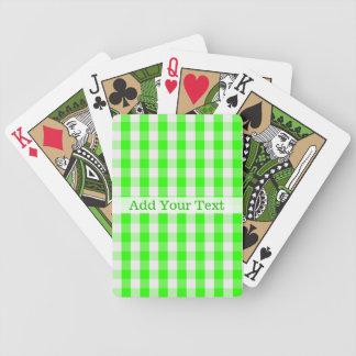 Jogos De Baralho Teste padrão verde de néon do guingão por Shirley