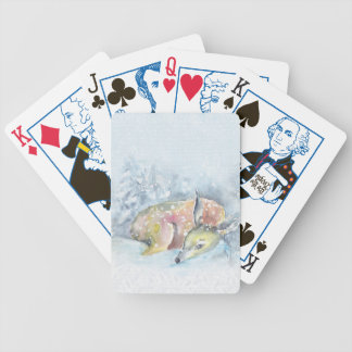 Jogos De Baralhos Cervos do inverno da aguarela na neve