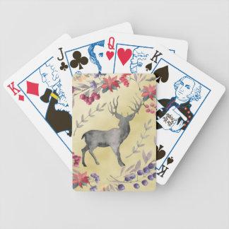 Jogos De Baralhos Ouro das bagas do inverno dos cervos da aguarela