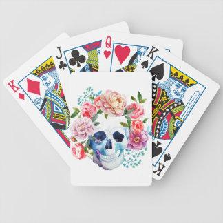 Jogos De Cartas Crânio e flores artísticos da aguarela
