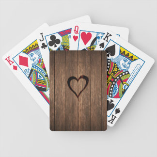Jogos De Cartas Madeira rústica impressão queimado do coração