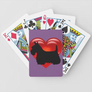 Jogos De Cartas Scottish coração de Terrier/arco/colar vermelhos