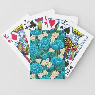 Jogos De Cartas Teste padrão ilustrado da flor do rosa do azul