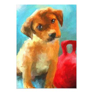 Jogue comigo (filhote de cachorro) os mini convite 12.7 x 17.78cm
