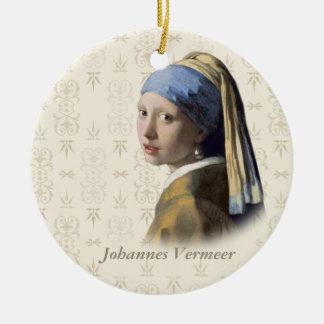 Johannes Vermeer: Menina com o brinco da pérola Ornamento De Cerâmica Redondo