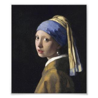 Johannes Vermeer - menina com um brinco da pérola Impressão De Fotos