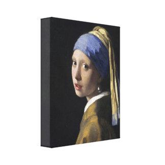 Johannes Vermeer - menina com um brinco da pérola Impressão De Canvas Envolvida